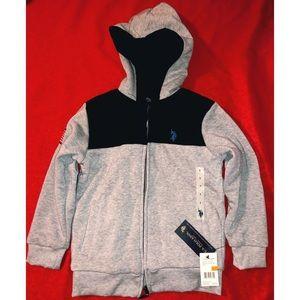 NWT boys gray polo hoodie jacket